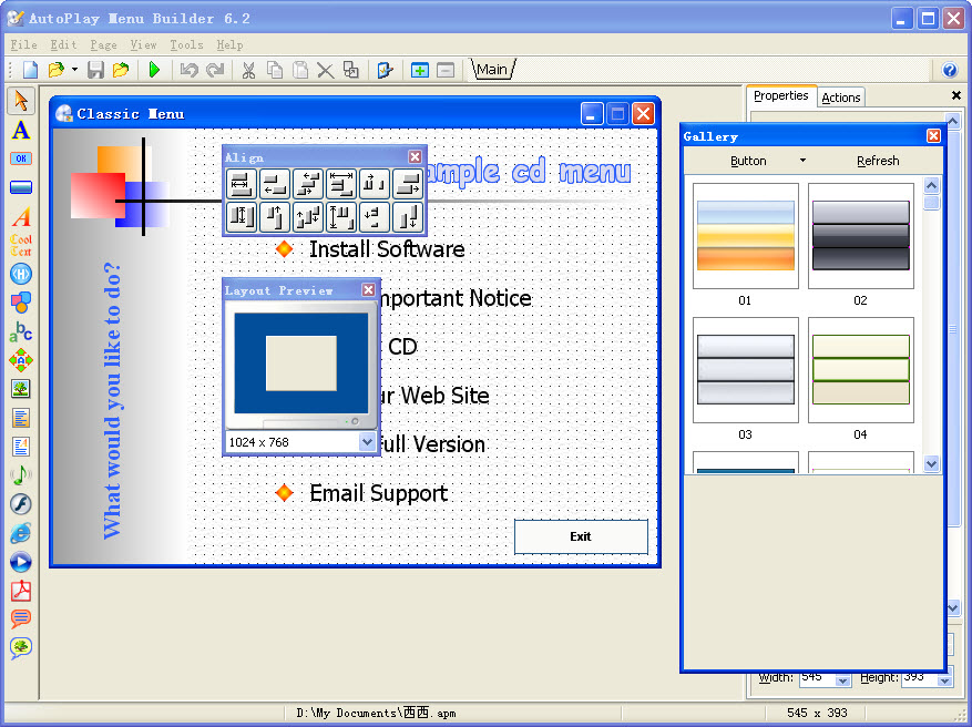 Linasoft autoplay menu builder crack freegetmye for Autoplay menu builder templates