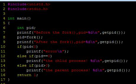 linux系统中c语言编程创建函数fork() 执行解析