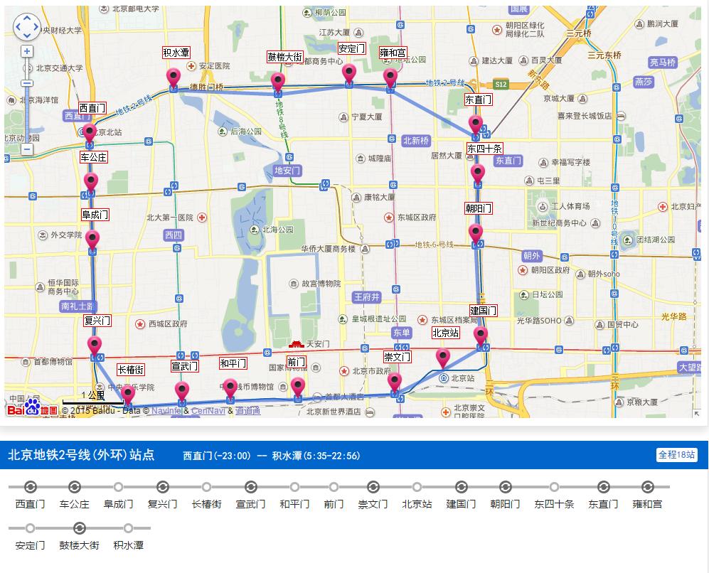 北京地铁线路图规划 北京地铁2号线 外环 线路图下载2016最新版图片
