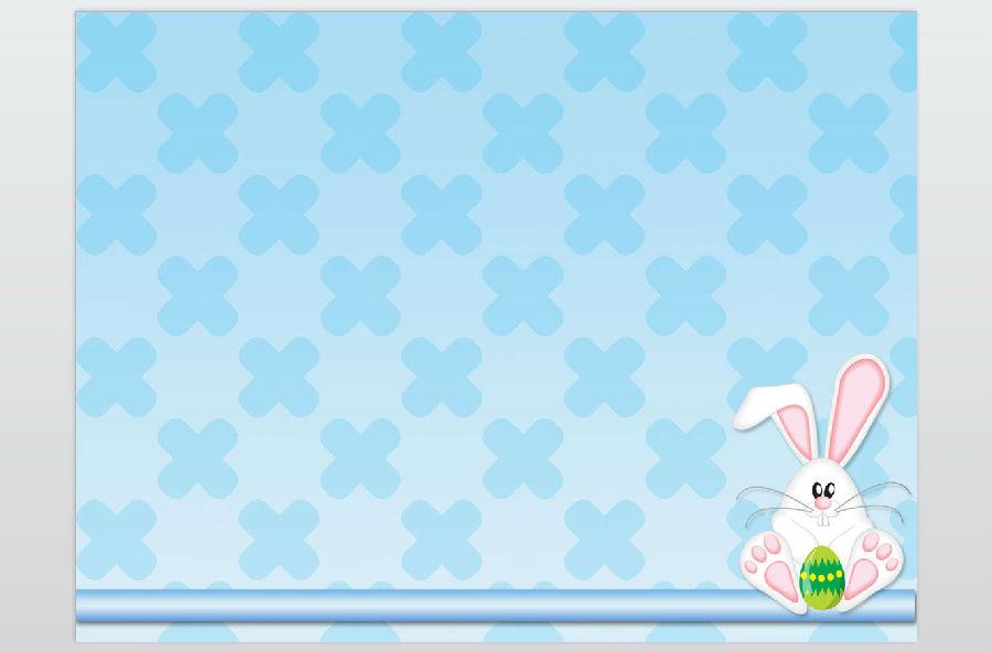 可爱彩蛋小兔子卡通ppt模板下载