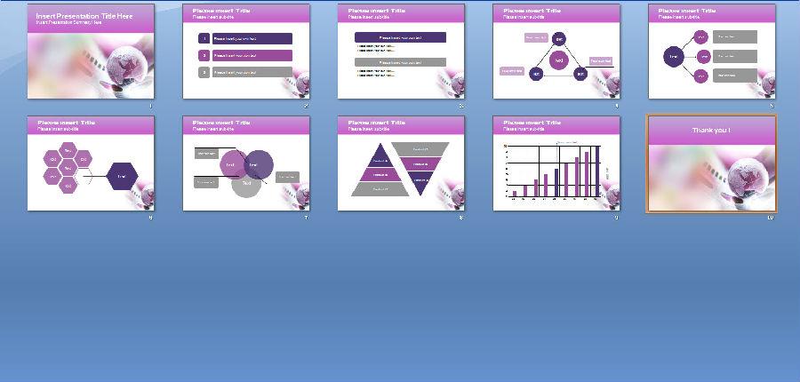 致紫色商务主题PPT模板下载