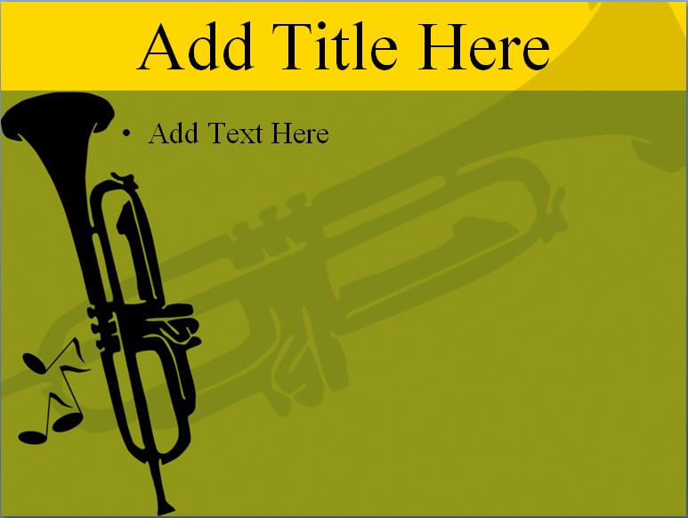 小號背景藝術ppt模板,適用于與音樂主題有關的場合