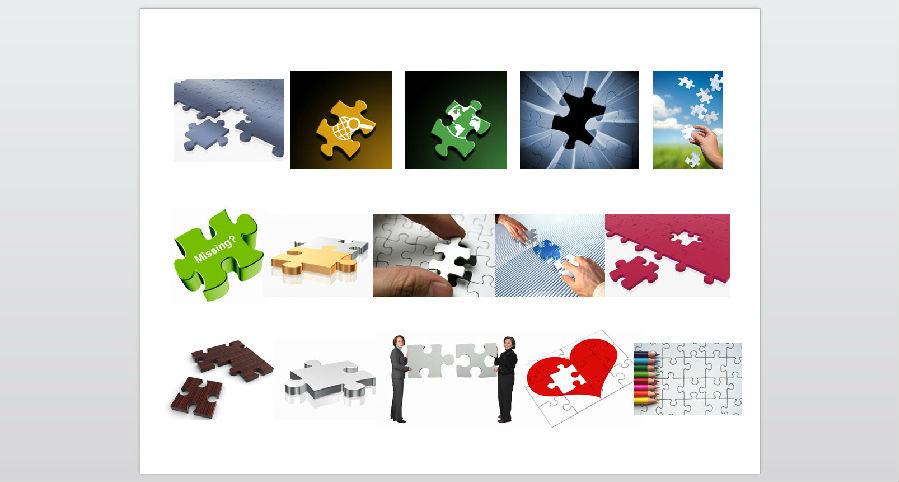 合作主题拼图元素PPT素材下载
