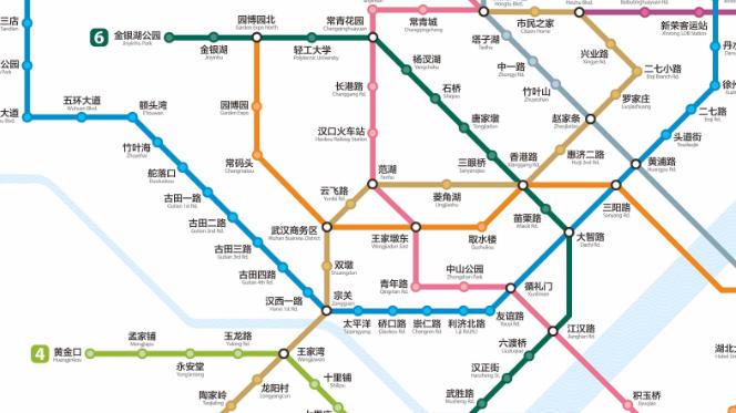2018年武汉地铁运营线路图最新版 高清无水印版
