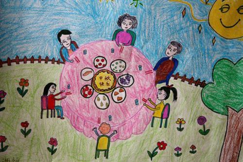 欢度国庆喜迎中秋图片儿童画下载 欢度国庆喜迎中秋儿童画图片下载